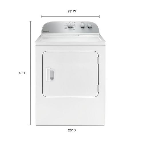 Whirlpool - 5.9 cu.ft Top Load Gas Dryer with AutoDry™ Drying System White