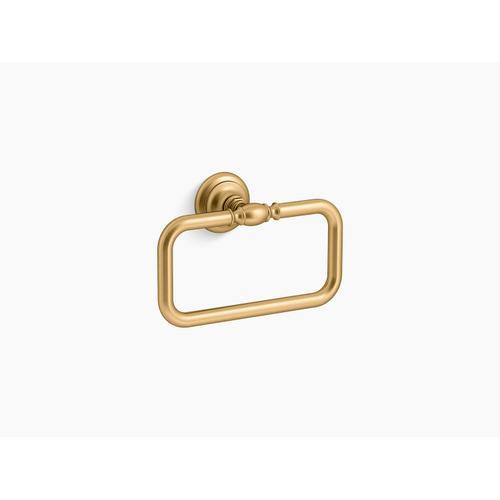 Vibrant Brushed Moderne Brass Towel Ring