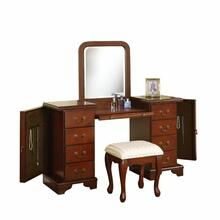 ACME Louis Philippe Vanity Desk & Stool - 06565 - Brown