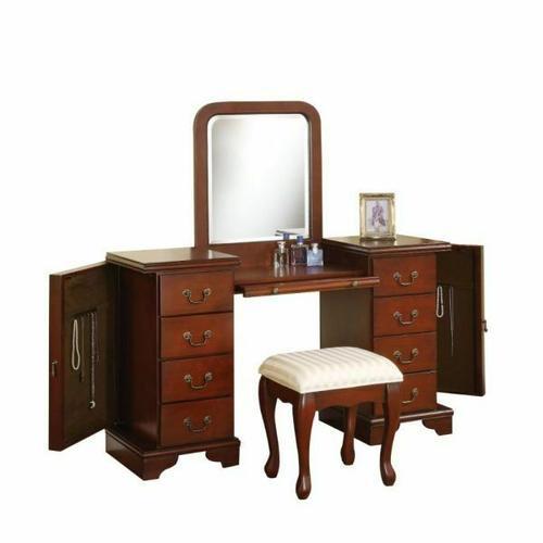 ACME Louis Philippe Vanity Desk & Stool - 06565 - Brown