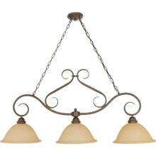 Castillo - 3 Light Island Pendant with Champagne Linen Washed Glass - Sonoma Bronze Finish
