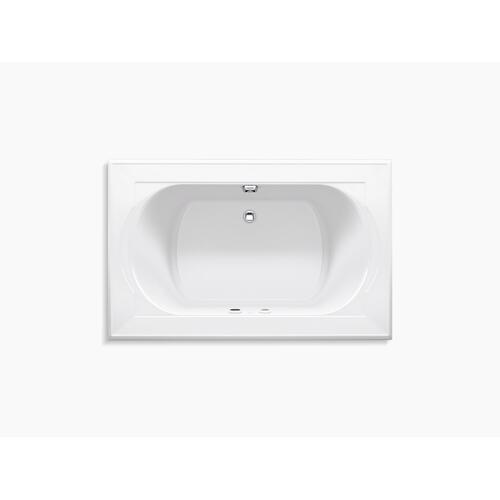 "White 66"" X 42"" Heated Bubblemassage Air Bath With Bask and Center Rear Drain"