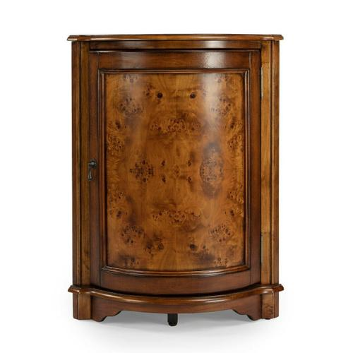 Butler Specialty Company - Perfect for dressing up a neglected corner, this cabinet features olive ash burl veneers along its top and door panel. The door, adorned with a pull in an antique brass finish, opens to reveal a shelf within its always-welcome storage space. Crafted from select wood solids and wood products.