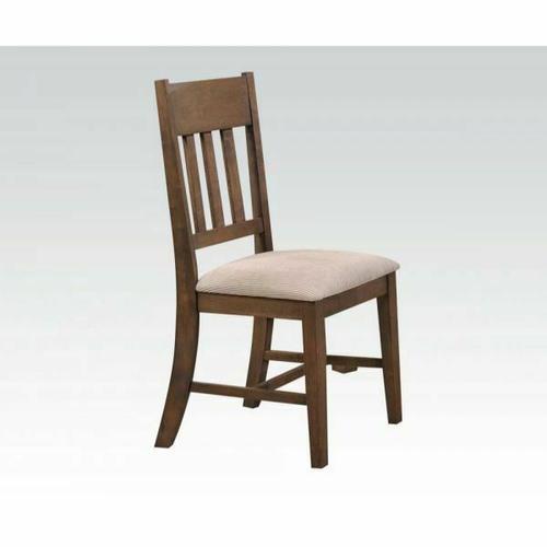 Acme Furniture Inc - ACME Ulysses Side Chair (Set-2) - 73062 - Cream Fabric & Weathered Oak