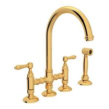 Italian Brass San Julio Deck Mount C-Spout 3 Leg Bridge Kitchen Faucet With Sidespray with Metal Lever