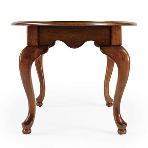 Butler Specialty Company - Selected solid woods, wood products and choice veneers. Cherry veneer top with linen-fold inlay design of maple and walnut veneers. Graceful Queen Anne styling.