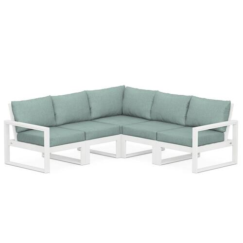 Polywood Furnishings - EDGE 5-Piece Modular Deep Seating Set in White / Glacier Spa