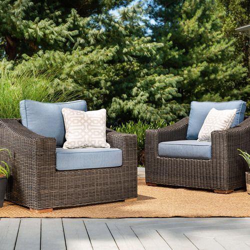 New Boston Wicker Patio Lounge Chairs w/ Blue Cushion
