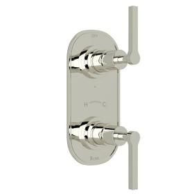 Lombardia 1/2 Inch Thermostatic and Diverter Control Trim - Polished Nickel with Metal Lever Handle