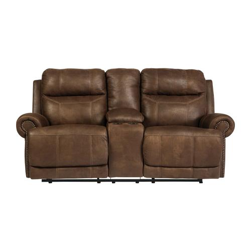 Austere Dbl Rec Pwr Loveseat W/console Brown