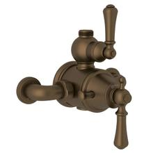 Georgian Era Exposed Thermostatic Valve with Volume and Temperature Control - English Bronze with Metal Lever Handle