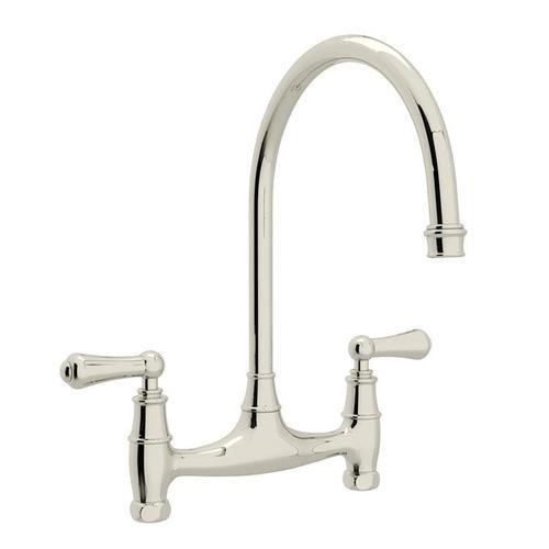 Georgian Era Bridge Kitchen Faucet - Polished Nickel with Metal Lever Handle