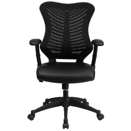 High Back Designer Black Mesh Executive Swivel Chair with Adjustable Arms with Leather Seat