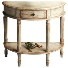 See Details - Add style and elegance to your home with this demilune console. Features oak veneers with an artisan-applied crackled, distressed Chateau Gray paint finish. Crafted from poplar hardwood solids, wood products and choice cherry veneers with antique brass finished drawer knob.