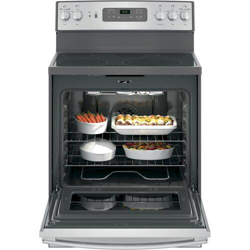 "GE® 30"" Free-Standing Electric Convection Fingerprint Resistant Range"