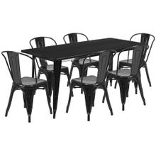 31.5'' x 63'' Rectangular Black Metal Indoor-Outdoor Table Set with 6 Stack Chairs