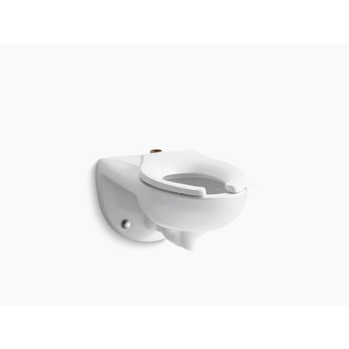 White Wall-mounted Top Spud Antimicrobial Flushometer Bowl