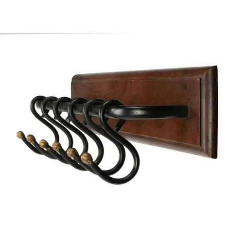 Butler Specialty Company - Crafted of mango wood and iron. This sturdy wall rack offers an elegant solution for hanging jackets, hats, and scarves in an entry or hall. Features six iron hooks for an industrial/rustic look and is finished in a rich dark finish.
