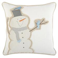 VE Friendly Snowman Ivory 18x18
