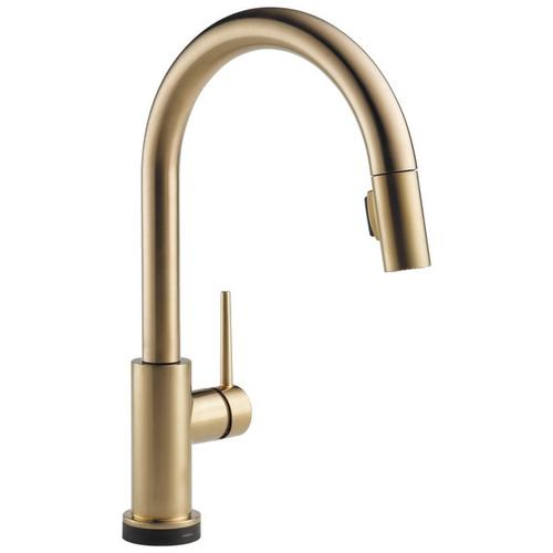 Delta Faucet Company - Champagne Bronze Single Handle Pull-Down Kitchen Faucet with Touch 2 O ® Technology