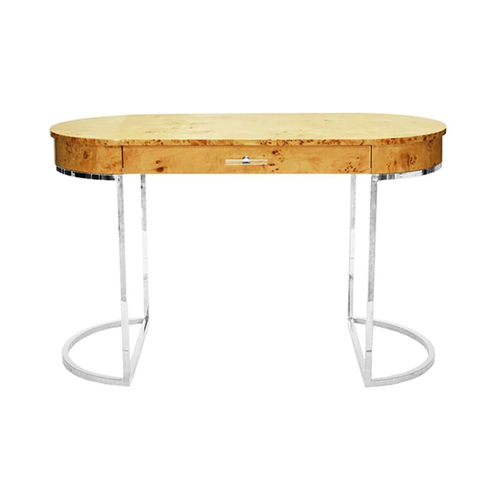 Modern, Glamorous, and On-trend, Our Oval Corbett Desk Is the Epitome of Luxe Design. the Burlwood Top Has A High Gloss Finish, Linear Acrylic Hardware, and Polished Nickel Demilune Base. So Chic!
