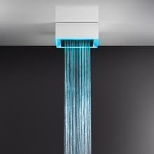 "Surface mounted multifunction shower system 15-9/16"" RAINFALL/WATERFALL function and chromotherapy effect 1/2"" connections M ax Flow rate 1"