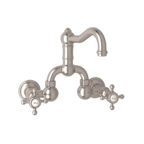 Satin Nickel Acqui Wall Mount Bridge Lavatory Faucet with Cross Handle