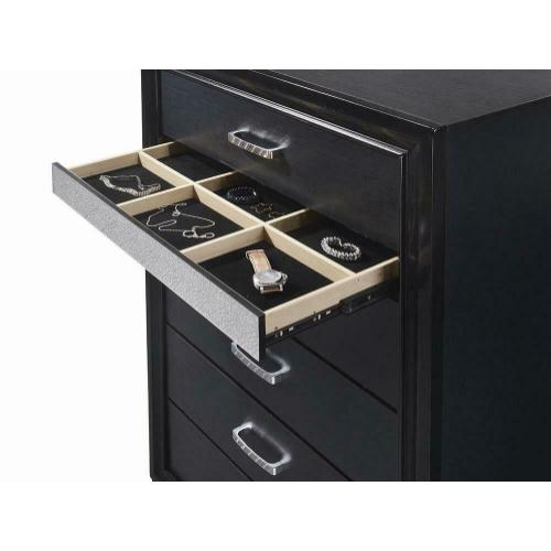 Miranda Transitional Black Five-drawer Chest