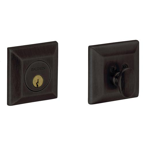 Distressed Oil-Rubbed Bronze Squared Deadbolt