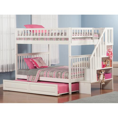 Atlantic Furniture - Woodland Staircase Bunk Bed Full over Full with Raised Panel Trundle Bed in White