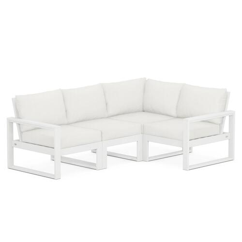 Polywood Furnishings - EDGE 4-Piece Modular Deep Seating Set in White / Natural Linen