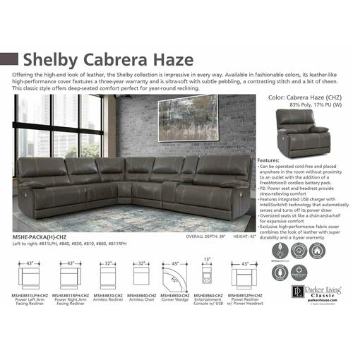 Parker House - SHELBY - CABRERA HAZE Power Left Arm Facing Recliner