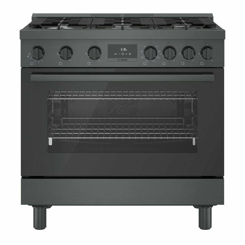 Bosch800 Series Dual Fuel Freestanding Range 36'' Black Stainless Steel Hds8645u