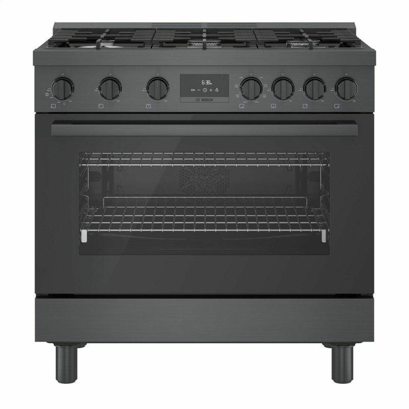 800 Series Dual Fuel Freestanding Range 36'' Black Stainless Steel HDS8645U
