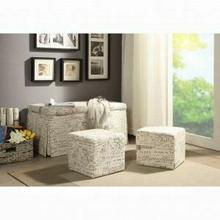 ACME Delana 3Pc Pk Bench & Ottomans - 96443 - Pattern Fabric