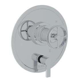 Campo Pressure Balance Trim with Diverter - Polished Chrome with Industrial Metal Wheel Handle