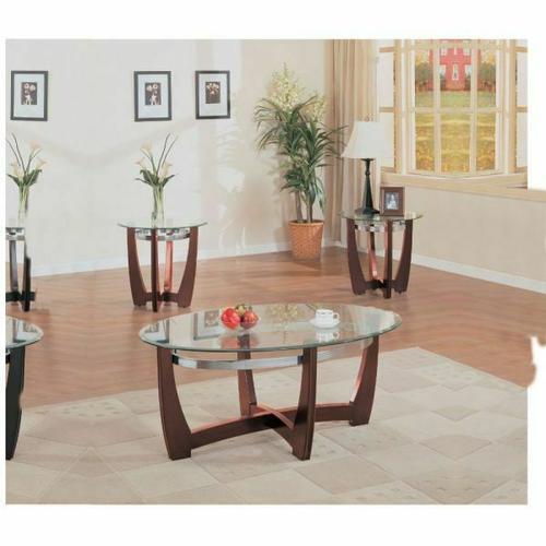 ACME Baldwin 3Pc Coffee/End Table Set - 07806 - Walnut & Clear Glass
