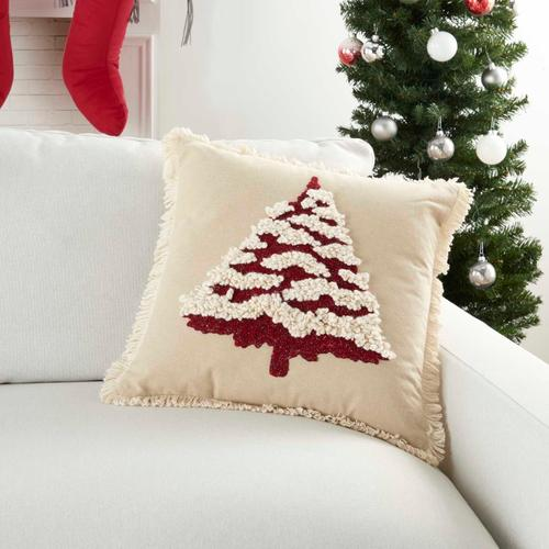 """Holiday Pillows Cr742 Red 18"""" X 18"""" Throw Pillow"""