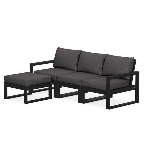 Polywood Furnishings - EDGE 4-Piece Modular Deep Seating Set with Ottoman in Black / Ash Charcoal