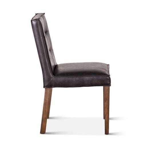 Madison Side Chair Black Leather Dark Legs