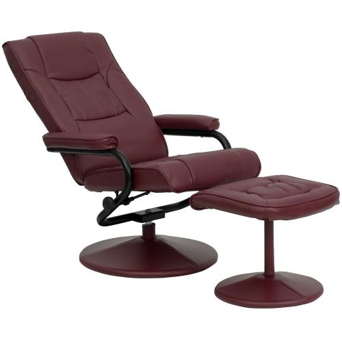 Contemporary Burgundy Leather Recliner and Ottoman with Leather Wrapped Base