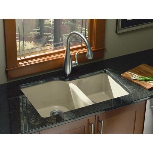 "White 33"" X 22"" X 10-5/8"" Undermount Large/medium, High/low Double-bowl Kitchen Sink With 4 Oversize Faucet Holes"