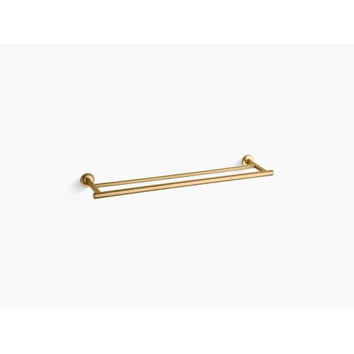 "Vibrant Brushed Moderne Brass 24"" Double Towel Bar"