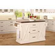 Brigham Kitchen Island In White With Stainless Steel Top Product Image