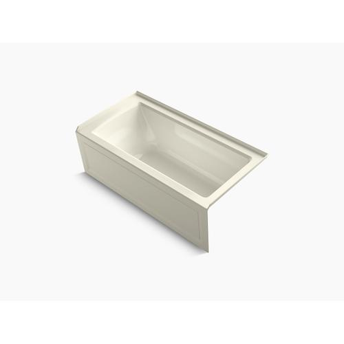 """Biscuit 60"""" X 30"""" Alcove Bath With Bask Heated Surface, Integral Apron, Integral Flange, and Right-hand Drain"""