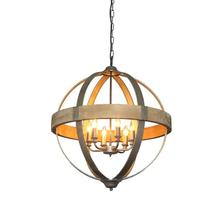 "26-1/4"" Round Metal & Wood Pendant Light"