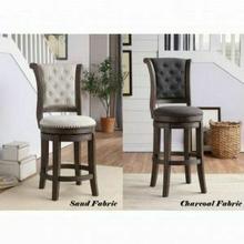 ACME Glison Bar Chair (1Pc) - 96458 - Charcoal Fabric & Walnut