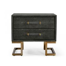 View Product - Modrest Howard - Modern Shagreen Grey Leatherette & Gold Nightstand