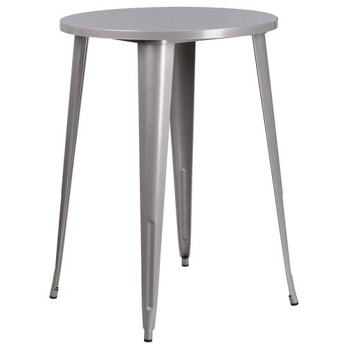 30'' Round Silver Metal Indoor-Outdoor Bar Height Table