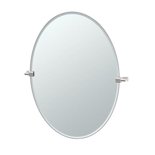 Bleu Oval Mirror in Satin Nickel